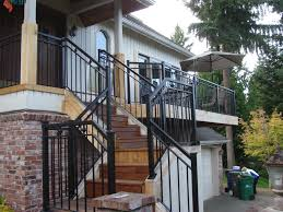 exterior wooden cap glass railing how to build outdoor stair