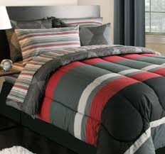 amazon black friday bedding black gray red stripes boys teen full comforter set 7 piece bed