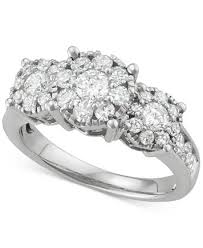 cluster rings diamond halo cluster ring 1 1 2 ct t w in 14k white