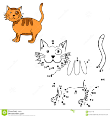 connect the dots to draw the cute cat and color it stock vector