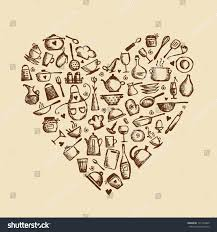 love cooking kitchen utensils sketch heart stock vector 111164909