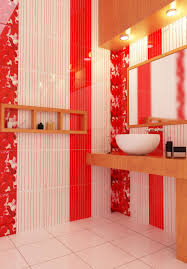 bathroom red white latest bathroom color trends with round vessel