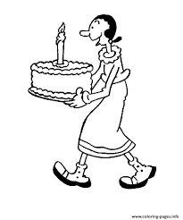 olive having birthday cake popeye d0f8 coloring pages printable
