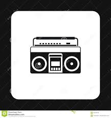 Radio Black Background Boombox Or Radio Cassette Tape Player Icon Stock Vector Image