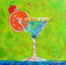 martini cherry blue martini cherry me up modern art painting by patricia awapara