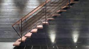 board formed concrete staircase modern with wood treads