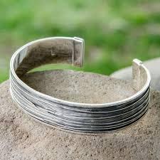 cuff silver bracelet men images Men 39 s taxco silver cuff bracelet mezcala river novica jpg