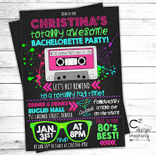 best bachelorette party invitations totally awesome neon 80 u0027s bachelorette invitation by
