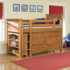 bedroom unfinished wooden loft bunk bed with storage drawers and