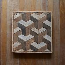 reclaimed wood wall decor lath geometric pattern
