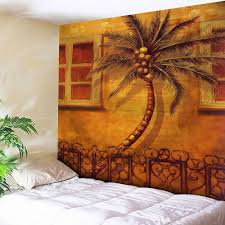 Light Colored Tapestry Wall Hanging Coconut Tree Print Tapestry In Light Brown W79 Inch