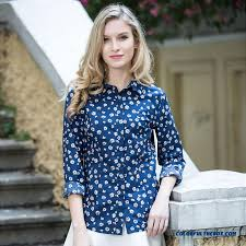 womens cotton blouses cheap fashion printed shirts slim polo collar navy blue