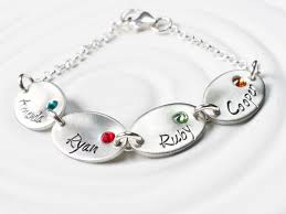 Mothers Bracelets With Names Oval Birthstone Name Charm Bracelet Mother U0027s Bracelet