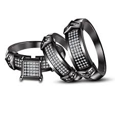his and hers black wedding rings his white and black gold finish trio set wedding rings