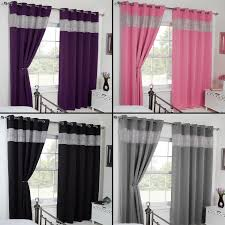 Gray And Pink Curtains Thermal Blackout Diamante Eyelet Ring Top Pair Of Curtains Black