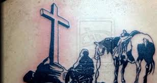 back cover up with fantastic cowboy and big cross