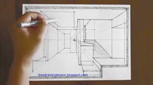 how to draw a room in one point perspective youtube