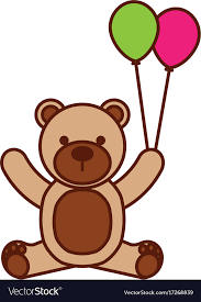 teddy balloons baby shower teddy balloons decoration vector image