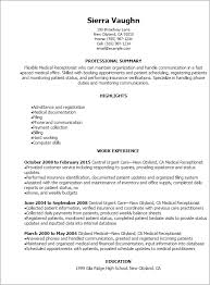 Resume Templates And Examples by Professional Medical Receptionist Resume Templates To Showcase
