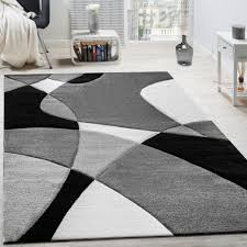Modern Black And White Rugs Designer Rug Modern Geometric Design Contour Cut In Black White