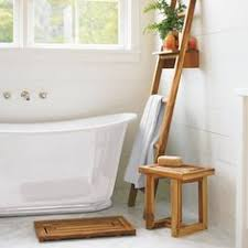 teak wood spa sauna corner stool bath shower bench 23 x 25 x 17