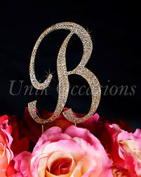 b cake topper unik occasions sparkling collection rhinestone monogram