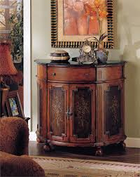 Hallway Accent Table Half Round Accent Chest With Cabinet Drawers And Wheels In The