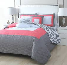 Pink And Gray Comforter Coral And Gray Comforter Set Home Design Ideas