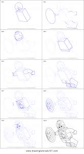 draw lego captain america printable step step drawing