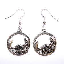 mermaid earrings circle mermaid earrings