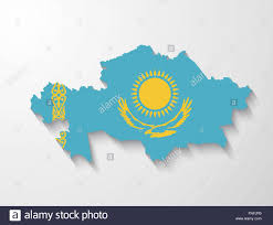 Kazakhstan Flag Kazakhstan Country Map With Flag And Shadow Effect Presentation