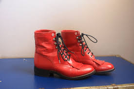 red motorcycle shoes vintage 1980s 1990s cherry red leather justin roper boots