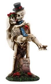 skeleton wedding cake toppers never dies groom holding skulls wedding cake topper