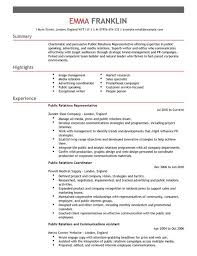 Advertising Resume Public Relations Cv Example For Marketing Livecareer
