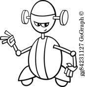 vector art robot cartoon illustration coloring eps clipart