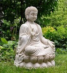 sitting meditating shakyamuni buddha white finish zen garden