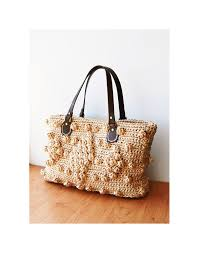 straw handbag crochet natural raffia bag woven straw purse