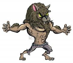 claws halloween cartoon werewolf with teeth and claws isolated stock photo