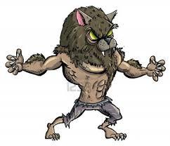 scary halloween cartoons cartoon werewolf with teeth and claws isolated stock photo