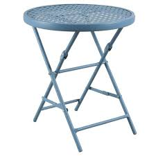target folding patio table metal punch folding patio accent table blue threshold target