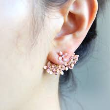 back earrings floral bouquet earrings pink front back earrings ear jackets