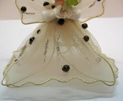 vintage christmas angel ornament with tulle wings u0026 dress ceramic