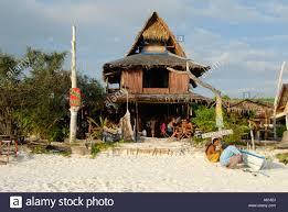 cafe lipe cool wooden house at sandy beach koh lipe thailand stock