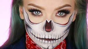 Skeleton Halloween Makeup by Half Glitter Skull Halloween Makeup Tutorial Youtube