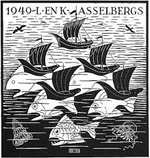 new years greeting card fish boats new years greeting card 1949 by m c escher on artnet