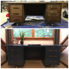 hood creek log cabin mid century desk makeover