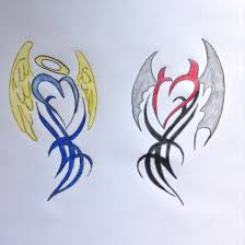 angel and devil heart tribal drawing comment and like if you
