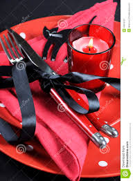 elegant red and black theme halloween party dining table place