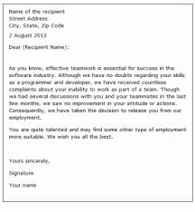 termination letter format for employee best resume gallery