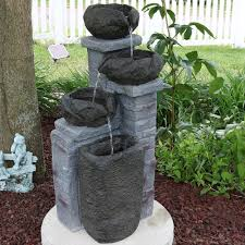 solar fountains with lights sunnydaze cascading stone bowls solar on demand water fountain with